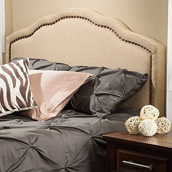 Christopher Knight Home 238881 Wimbley Canvas Fabric Queen To Full Adjustable Headboard