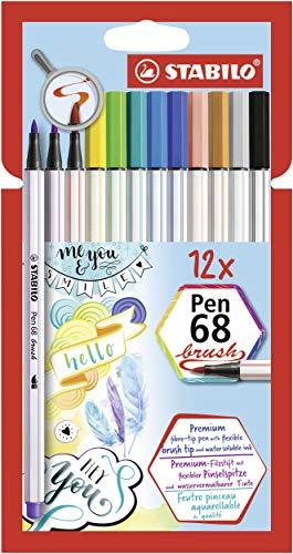 Premium-Filzstift mit Pinselspitze für variable Strichstärken - STABILO Pen 68 brush - 12er Pack - mit 12 verschiedenen Farben
