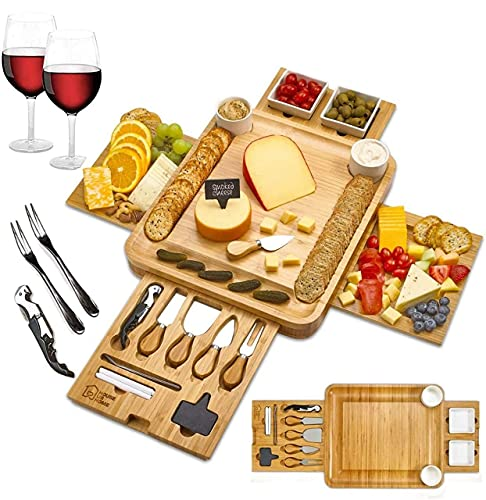 Cheese Board 2 Ceramic Bowls 2 Serving Plates. Magnetic 4 Drawers Bamboo Charcuterie Cutlery Knife Set, 2 Server Forks, Wine Opener, Labels, Markers, Gift for Birthdays, Wedding Registry,Housewarming