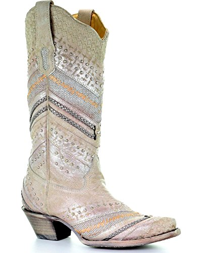 CORRAL Women's Metallic Embroidery and Studded Cowgirl Boot Snip Toe White Size: 4.5 UK
