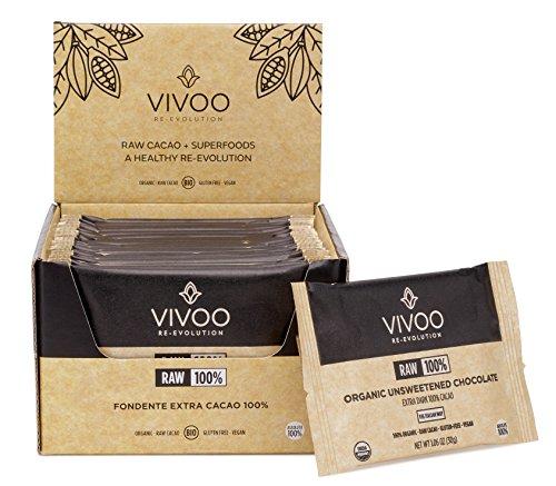 Barres de chocolat bio cru VIVOO   Noir absolu 100 % cacao   Sans produits laitiers, sans soja, sans gluten   Sans OGM, vegan, cacher   Riche en nutriments   Boîte de 20 barres de 30 g