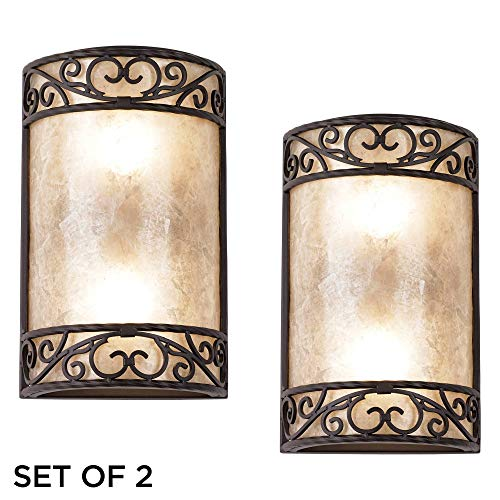 "Natural Mica Collection Antique Wall Light Sconces Set of 2 Rustic Walnut Brown Hardwired 12 1/2"" High Fixture Scrollwork for Bedroom Bathroom Hallway - John Timberland"