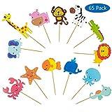 Vordas Zoo Tier Cupcake Toppers, 65 Stück Tier Kuchendeckel Topper für Kinder Baby Party...