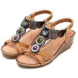 XJST Sandalo Casual da Donna, Sandalo Piattaforma 5 Cm, Estate Confortevole con Cinturino alla Caviglia A Punta Aperta Sandalo Leggero,Marrone,40