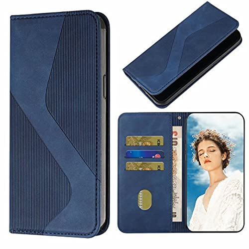 Funda tipo cartera para Xiaomi Redmi Note 10 5G con función de soporte para tarjeta de crédito Flip Book Case Cover Funda de cuero suave TPU absorción de golpes para Xiaomi Redmi Note 10 5G azul