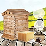 Lwestine Flow Hive Beehive kit Automatic Wooden bee hive House kit Beehive Boxes with 7 Peice Comb Honey Frames for Beginning and Professional Beekeepers