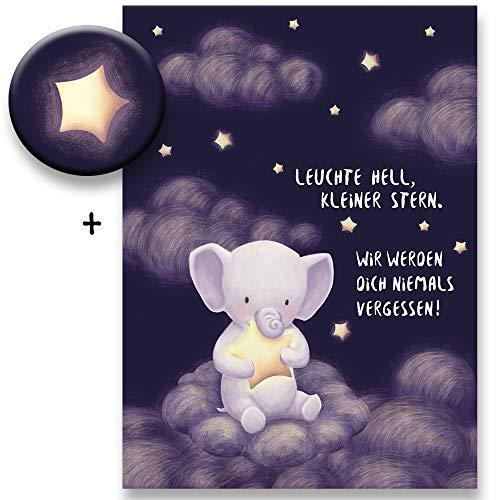 Polarkind Trauerkarte für Babys Kinder (Sternenkind, Fehlgeburt) im Set mit Stern-Magnet 38mm Kondolenzkarte Beileidskarte handmade Din A6
