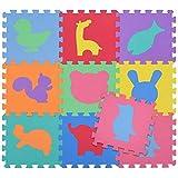 BAKAJI Tappeto Puzzle Colorato in Morbida Gomma Eva Resistente, Isolante, Lavabile, Tappetino da Gioco per Bambini (9 pz Animali)