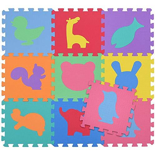 BAKAJI Tappeto Puzzle Colorato in Morbida Gomma Eva Resistente, Isolante, Lavabile, Tappetino da Gioco per Bambini (9 pz...