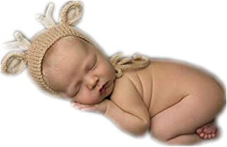 Vemonllas Fashion Cute Newborn Boys Girls Baby Knitted Photography Props Christmas Deer Hat Beige