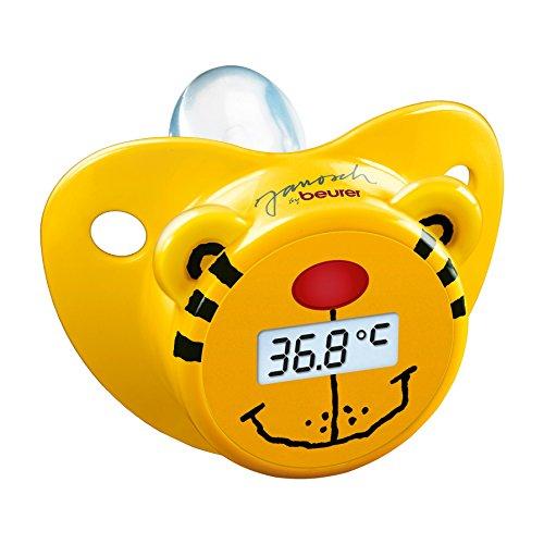 Beurer JFT-20 - Chupete-termómetro en forma de osito, color amarillo y negro