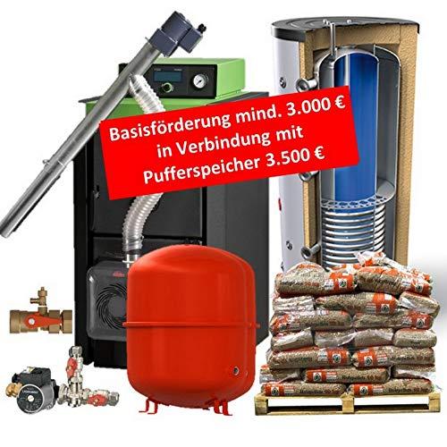 Pelletkessel Pelletkesselpaket Bafa Förderfähig Festbrennstoffkessel Holz mit 800/200 Liter Kombipufferspeicher mit 1 Wärmetauscher und Zubehör - 16 20 24 28 oder 32 kW