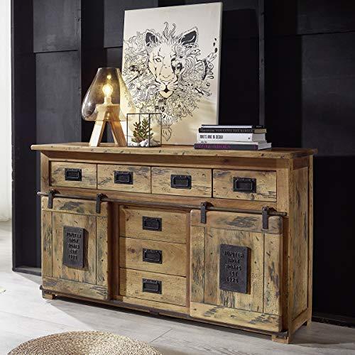 Möbel Akut Sideboard Mangoholz massiv rustikal lackiert Kommode Beistellschrank Eisen Gingo