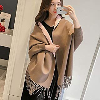 Winter Long Scarf Autumn and Winter Shawl Cloak Cloak Female Thickening with Sleeve Scarf Dual-use Wild air-Conditioned Room Jacket (Color : Khaki) Winter Soft Scarf (Color : Khaki)