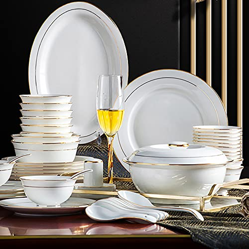 60 Pieces Dinnerware Set for 10 People, Fine Porcelain Kitchen and Dining Bone China Dinner Servicing Combi-Set with Round Cereal Bowls Plates Soup Pot with Gold Rim Microwave and Oven Safe
