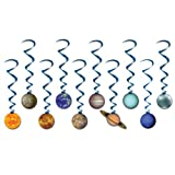 Beistle 10 Piece Solar System Whirls Outer Space Hanging Swirls Educational Classroom Planets Decorations, Multicolored