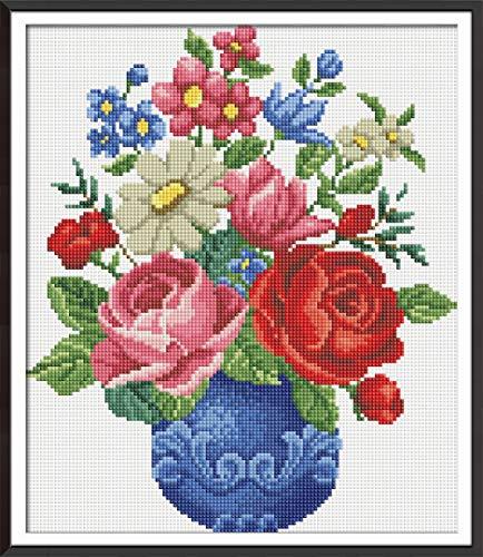 XDXART DIY 5D Diamant Schilderen door Nummer Kit, Volledige Boor Cross Stitch Kit Craft Muurstickers voor Woonkamer Decoratie, Bloesem Bloemen in Vaas (30X35CM/12X14inch)