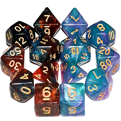 2Sets Glitter DND Dice Set| 7-Blue Red |7-Green Purple Galaxy Polyhedral Dice Set for Dungeons and Dragons Pathfinder RPG Board Game
