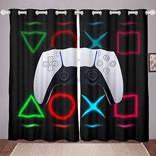 Cortinas para videojuegos, cortinas para juegos, jóvenes, adolescentes, niños, dormitorio, ventanas, cortinas, videojuegos, consolas, consolas, paneles de cristal, 46 x 54 cm