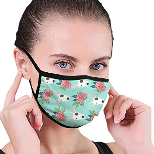 Preisvergleich Produktbild shifeiwanglu Windproof Fashion Mouth, Bull Terrier Floral Flowers Bull Unisex Face Mouth Muffle for Kids Teens Men Women,  Windproof Motorcycle Face Emoticon for Ski Cycling Camping