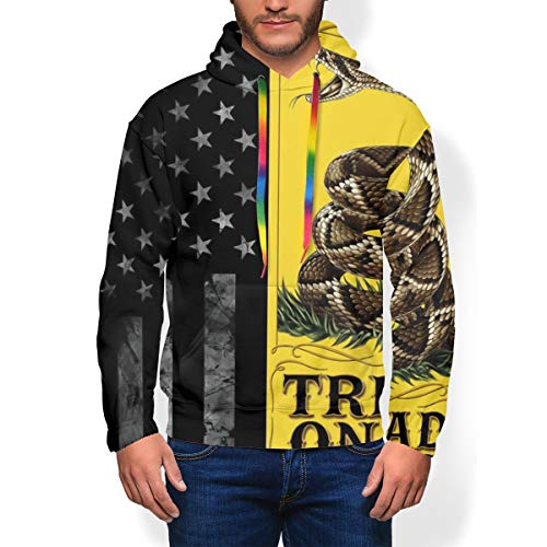 Teens Mens Best 3D Graphic Pullover Hoodie, American Flag and Don't Tread On Me Fashion Warm Plus Fleece Cosplay Hooded Sweatshirt Top with Kangaroo Pocket