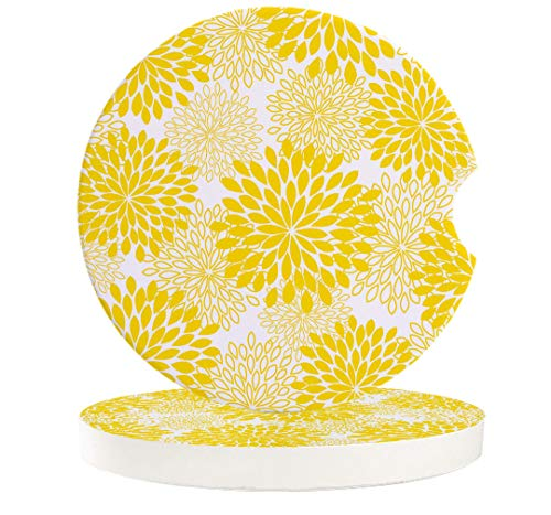 Yellow Floral 4 Pack Car Coasters for Drinks Absorbent Car Cup Holder Stones Ceramic Car Cup Holder Coaster with Fingertip Grip Yellow And White Simple Abstract Flowers