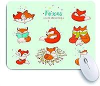ECOMAOMI 可愛いマウスパッド かわいい素敵なキツネのキャラクター 滑り止めゴムバッキングマウスパッドノートブックコンピュータマウスマット