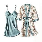 SENFEISM Moda Primavera Y Verano Mujeres Sexy Seda Pijamas Pieza Sling Manga Larga Bata Delgada Impresión De Seda Pecho Pad|Túnica