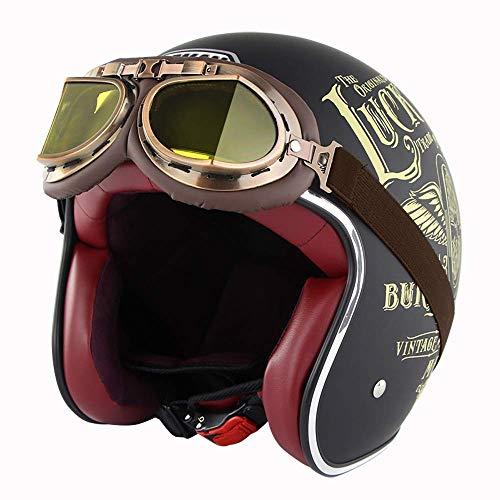 HYRGLIZI Cascos de Motocicleta para Adultos para Hombres y Mujeres Bicicletas ATV Open 3/4 Jet anticolisión Retro Medio Casco Aprobado por Dot con Gafas y Visera Solar, C, S