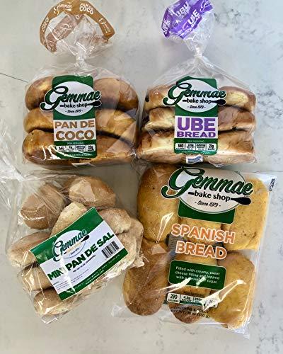 Gemmae Bake Shop - Filipino Breakfast Bread Essentials Set - Includes: Pan de Coco, Ube Bread, Spanish Bread, Pandesal