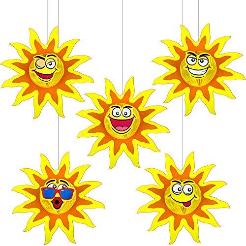 5 Piezas Panal de Sol Bolas de Centro de Mesa de Sol de Doble Cara Bolas de Panal de Sol Decoración Solar de Tejido con Expresión Facial para Decoración de Fiesta Temática Luau Tropical Hawaiana