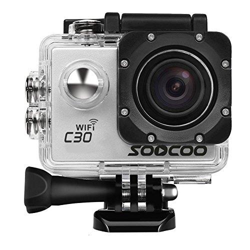 Soocoo C30 - Macchina fotografica sportiva, 4 K, 20MP, 2 pollici, subacquea, impermeabile, con 2batterie e kit di accessori incluso, wi-fi (scheda micro SD inclusa)