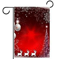 ガーデンサイン庭の装飾屋外バナー垂直旗クリスマスサンタクロース鹿オールシーズンダブルレイヤー