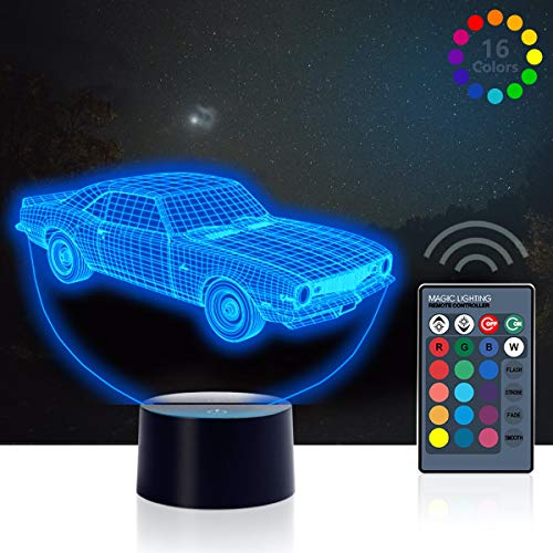 Muscle Car 3D Illusion Birthday Present Beside Table Lamp, Urwise 7 Color Changing Touch Switch Decoration Night Lamp with Acrylic Flat, ABS Base, USB Cable, Car Theme Toy, Amazing Creative Art