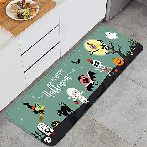 PUIO Juegos de alfombras de Cocina Multiusos,Feliz Halloween, Saludos, Plantilla, Vector, ilustración,Alfombrillas cómodas para Uso en el Piso de Cocina súper absorbentes y Antideslizantes