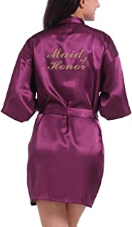 Lovacely Women's Satin Kimono Robe for Bride & Maid of Honour Wedding Party Short Robes with Gold Glitter Dressing Gown