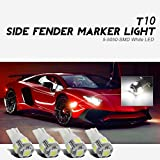 Partsam4x 6000K White Car Side Marker Bulbs Front +Rear T10 194 168 LED Lights 5050 SMD, Bright RV Trailer T10...