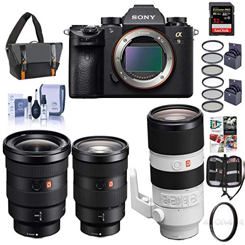 Sony Alpha a9 Mirrorless Digital Camera, Full Frame - Bundle with FE 24-70mm f/2.8 GM (G Master) Lens, FE 16-35mm f/2.8 GM, FE 70-200mm f/2.8 GM OSS, and Accessory Bundle