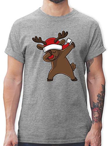 Weihnachten & Silvester - Dabbing Weihnachtsreh - XL - Grau meliert - REH - L190 - Tshirt Herren und Männer T-Shirts