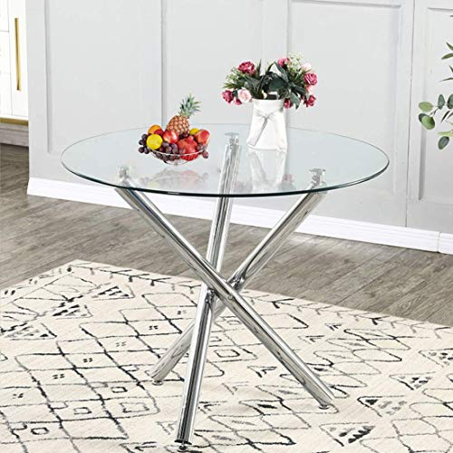 Modern Round Dining Table with Clear Tempered Glass Top, 3 Chrome Legs Kitchen Table for 2 or 4 Person,Round Dining Table Furniture for Home Office Kitchen Dining Room(W 35.4 x L 35.4 x H 29.5 inch)