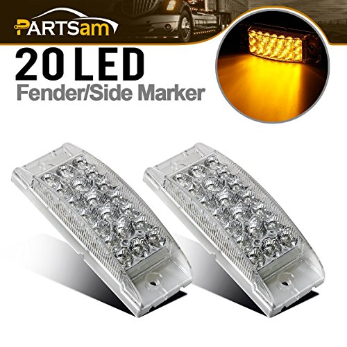 Partsam Pair 6 Amber Side Front Marker Light Turn Signal Light High Low Brightness Sealed, 20 Diodes, Trailer Clearance and led marker lights, 6x2 Rectangular Rectangle led lights, 3 Wires