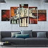 GFYC Decoración Modular, Pinturas para Pared de habitación, 5 Piezas, Instrumentos Musicales, Guitarra y Teclas de Piano, Cuadros, Lienzo, Impresiones en HD, Carteles artísticos
