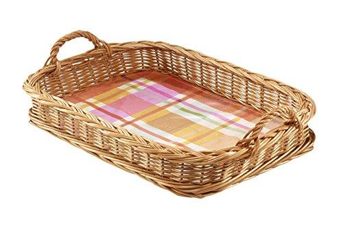 Kobolo Serviertablett Kellnertablett Tablett eckig Bügel gekochte Weide Textil mit Folie