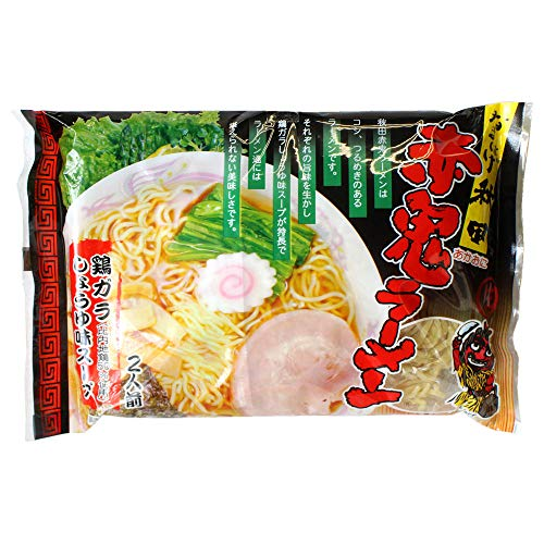 なまはげ 秋田 赤鬼ラーメン しょうゆ味スープ(比内地鶏ガラ50%使用) 生麺 2食入