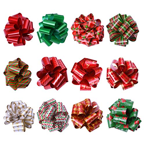 KOMIWOO Pack of 24 Christmas Ribbon Pull Bows 5-inch Wide, Assorted Xmas Gift Wrapping Ribbon Accessories for Christmas, Bows, Wine Bottles, Baskets, Great Present Decorations