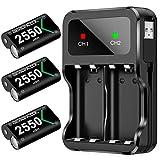 Pack de batterie BEBONCOOL pour Batterie pour contrôleur Xbox One, batterie rechargeable de 2550 mAh avec câble de chargement, double chargement de batterie Xbox pour contrôleur Xbox One S/X/ Elite