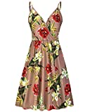 STYLEWORD Women's Dresses Summer Floral Spaghetti Strap Swing Midi Dress with Pockets