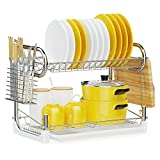 2 Tier Dish Drying Rack, iSPECLE Dish Rack with Drainboard Set Dish Drain Utensil Holder, Cutting Board Holder for Small Kitchen Countertop
