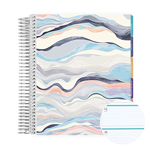 """18 Month 7"""" x 9"""" Spiral Coiled Horizontal Weekly Life Planner/Agenda (July 2021 - December 2022). Layers Neutral Flexible Cover, Mid Century Circles Interior Design by Erin Condren"""