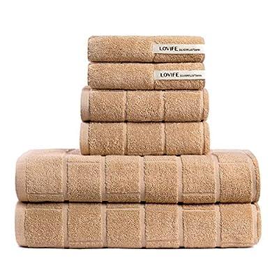 Lovife Set of 6 Piece Towel Set Highly Absorbent for Bathroom & Hotel & Spa 100% Cotton Bath Towel SILVERPLUS 500 GSM Soft Shower Towel 2 Bath Towels & 2 Hand Towels&2 Washcloths(Brown)